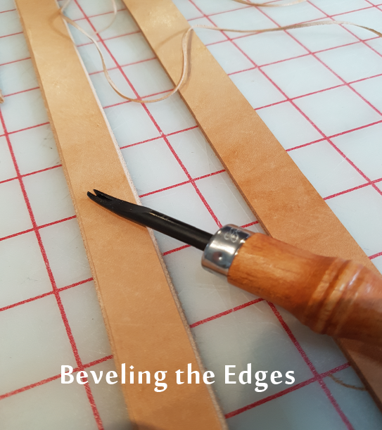 Beveling leather straps